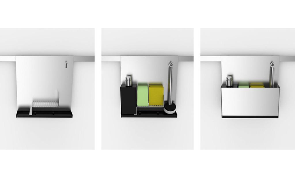 Küchenhelfer design Das Aufbewahrungssystem Keep It Clean verstaut alle Reinigungsgegenstände, die zum Spülen verwendet werden. Der Bereich um die Spüle wirkt dadurch aufgeräumt und deutlich aufgewertet. Das System verfügt über eine gute Durchlüftung sowie ein Auffangbehältnis für Wasser und kann leicht gereinigt werden. Die einzelnen Edelstahlelemente lassen sich mit geringen Werkzeug-kosten herstellen. Küchenhelfer design BUDDE BURKANDT DESIGN gestaltet Produkte. Wir verbinden strategisches Denken mit innovativen Lösungen, ausgezeichnetem Design und hoher Umsetzungskompetenz.Auf dieser Basis bieten wir eine zielgerichtete Leitung und Durchführung aller Prozesse der Produktgestaltung und Produktentwicklung an - von der ersten innovativen Idee bis zur marktreifen Umsetzung. küchenhelfer design con budde burkandt innovation design ist eine strategische Agentur - Studio für strategisches Produkt design - innovatives Industriedesign - ui ux design in München Deutschland.
